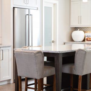 Dinning Table with Gray Chair in Kitchen