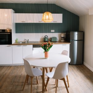 White Wood Table in Kitchen